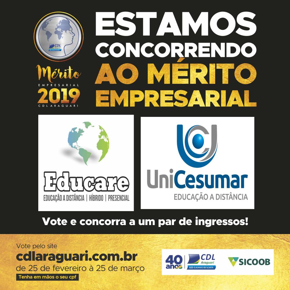 Mérito Empresarial 2019 CDL - Escola Educare e Unicesumar